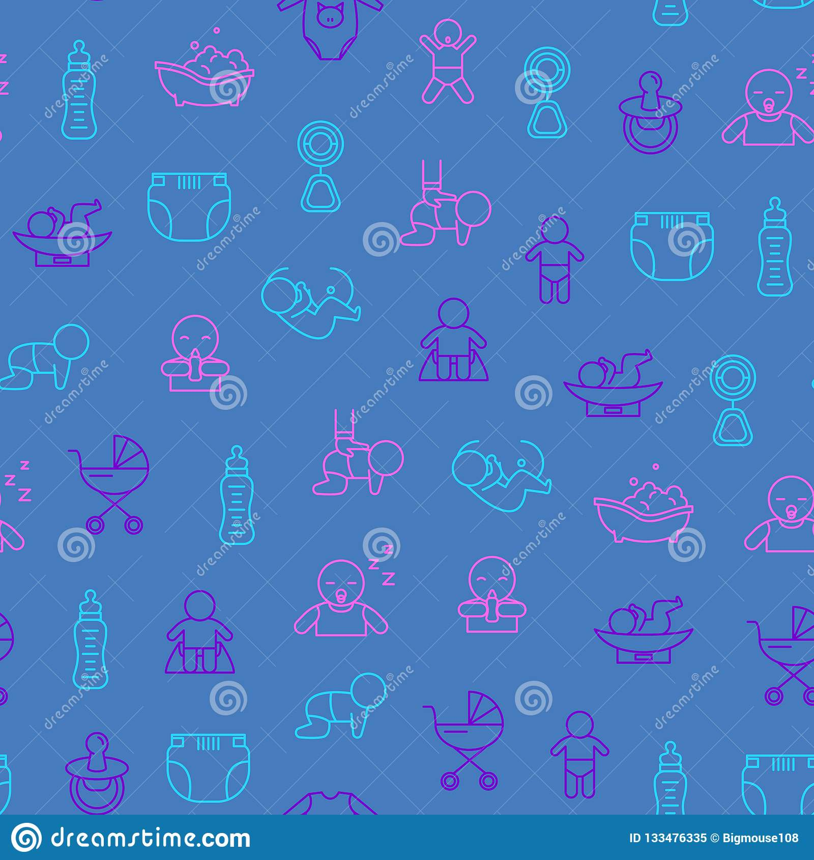 Newborn Babies Signs Thin Line Seamless Pattern Background. Vector