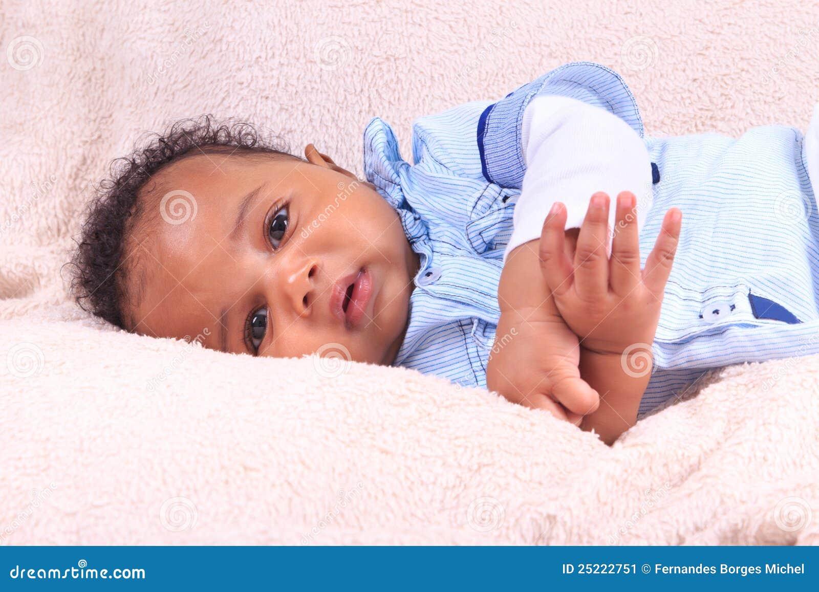 Newborn baby african american black stock image