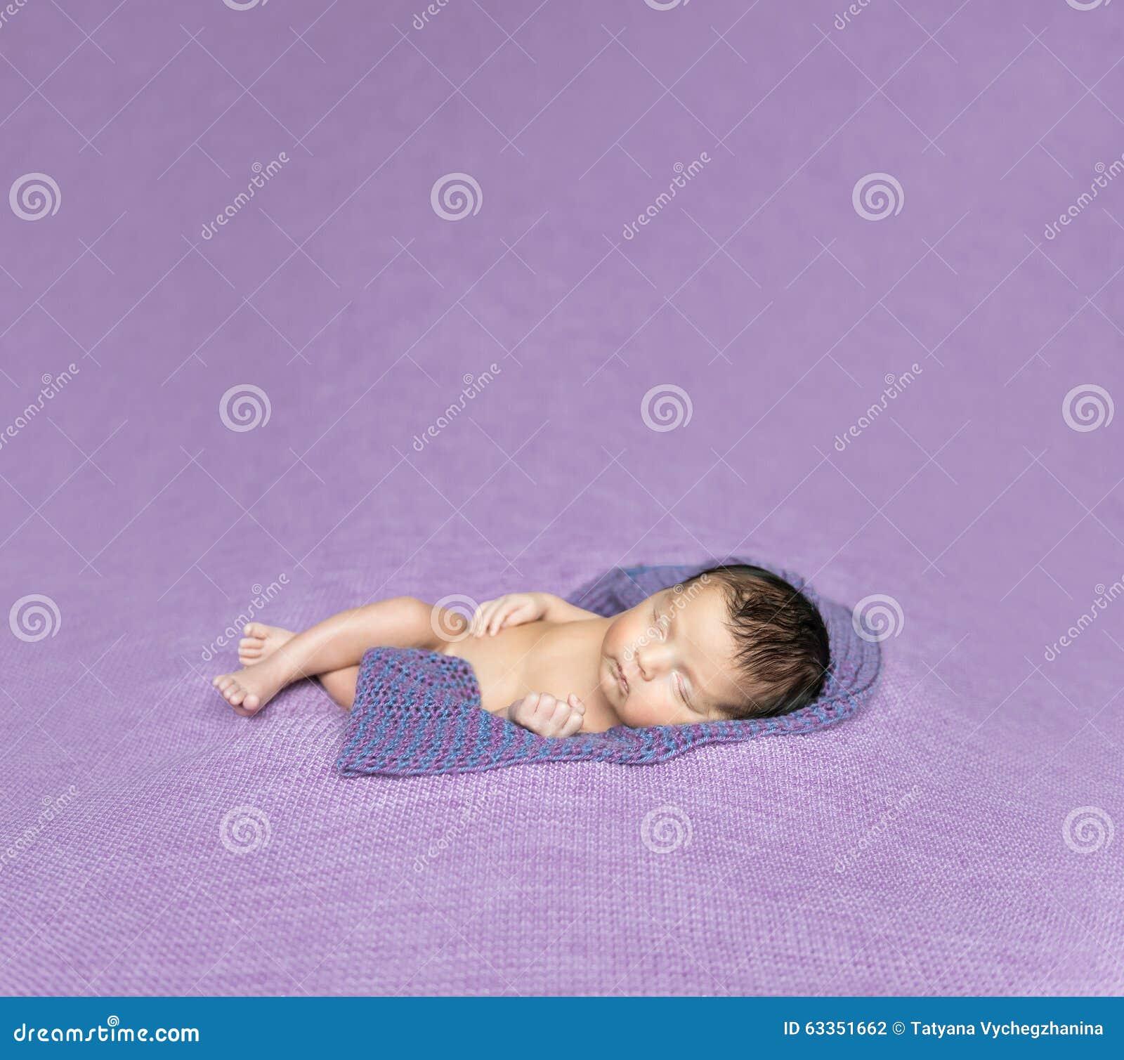 Portrait Of Cute Caucasian Baby Girl Asleep Stock Photo