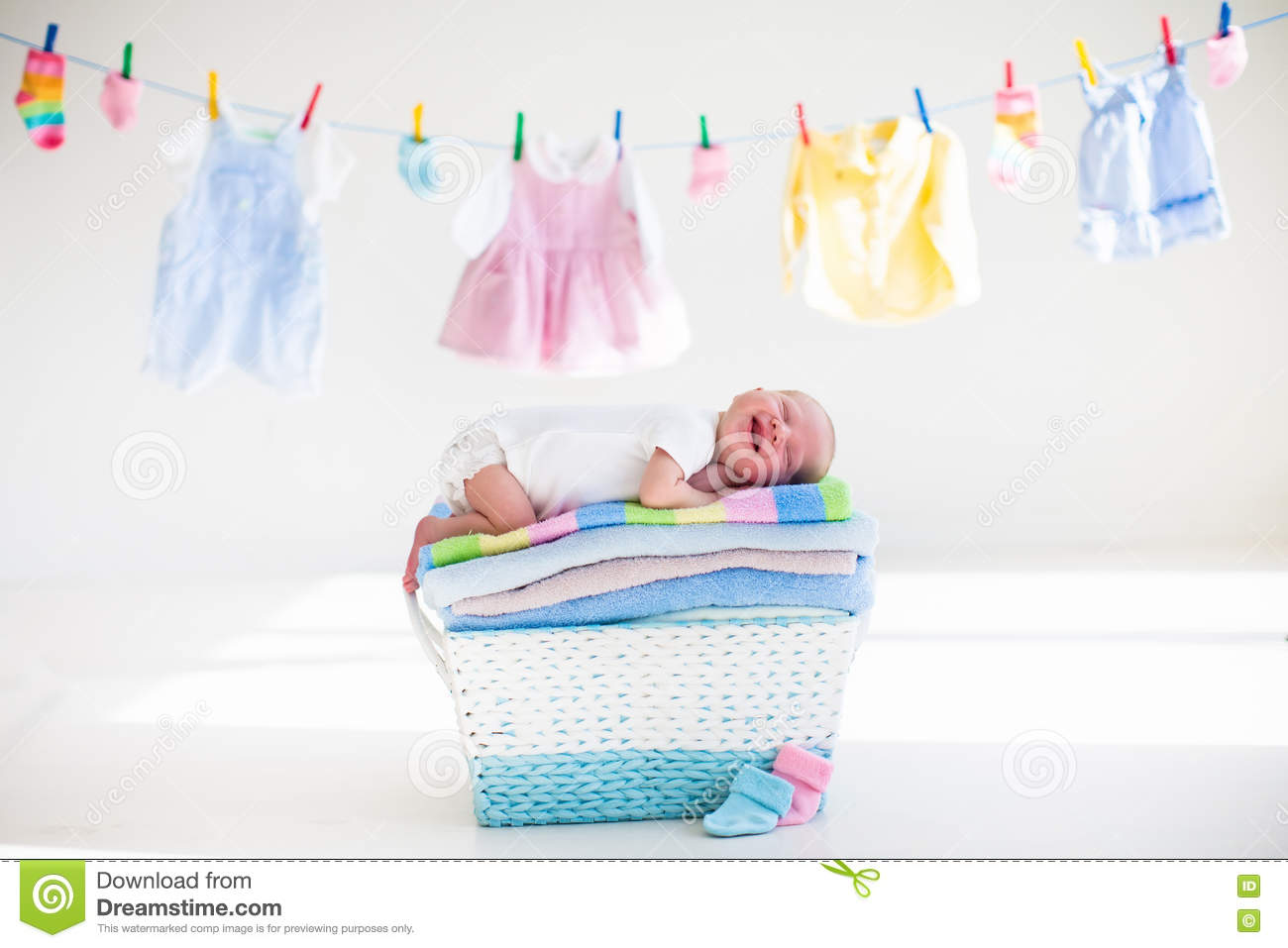 337dbbfa1660 Newborn Baby In A Basket With Towels Stock Image - Image of nursery ...