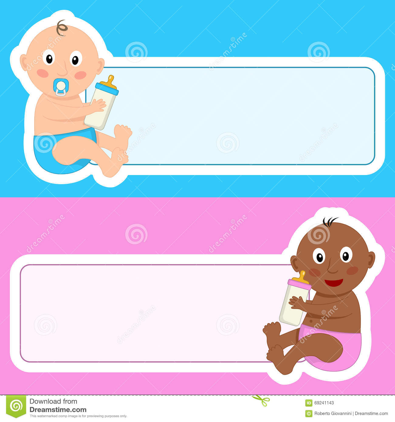 newborn with baby bottle blank banner stock vector illustration