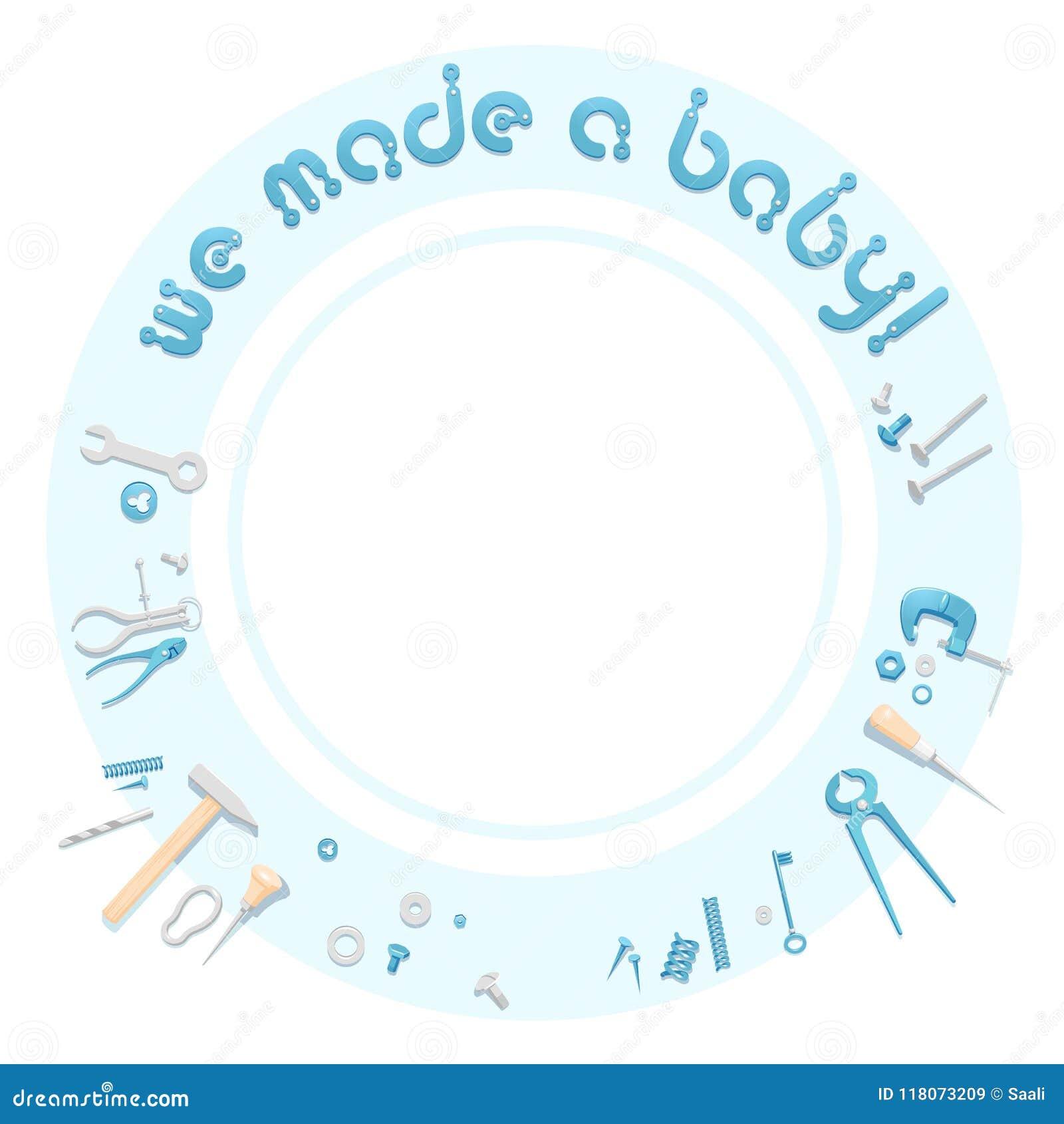newborn baby boy announcement template stock vector illustration