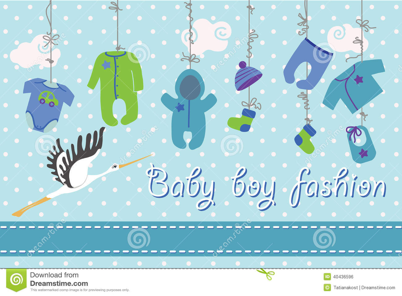 Newborn Baby-boy Clothes Hanging On The Rope.Baby Fashion ...