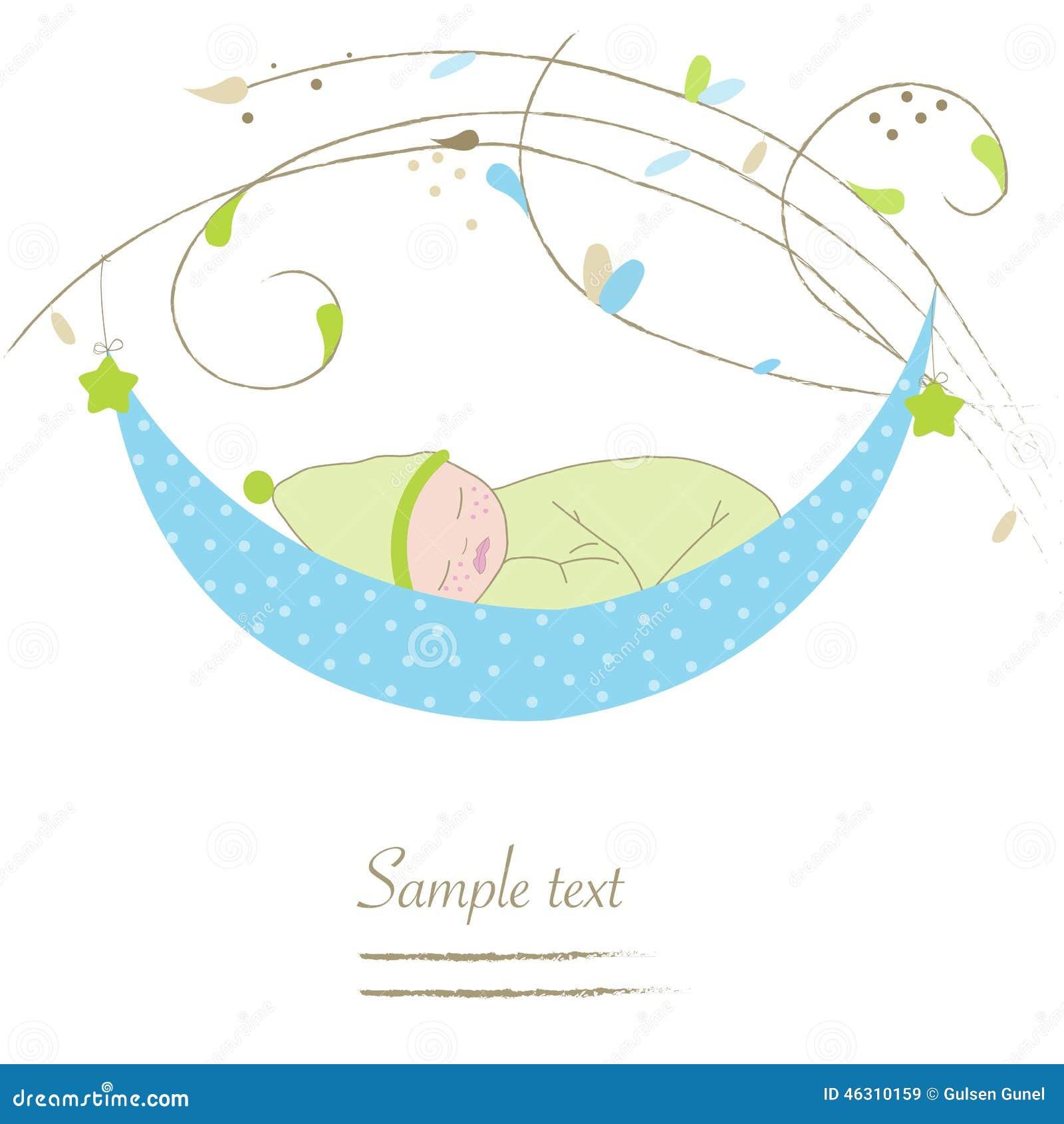 Newborn Baby Boy Cradle Greeting Card Illustration 46310159 Megapixl