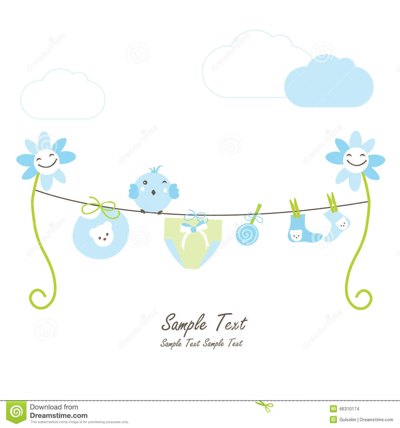 Newborn Baby Boy Flowers And Hanging Baby Symbols Stock