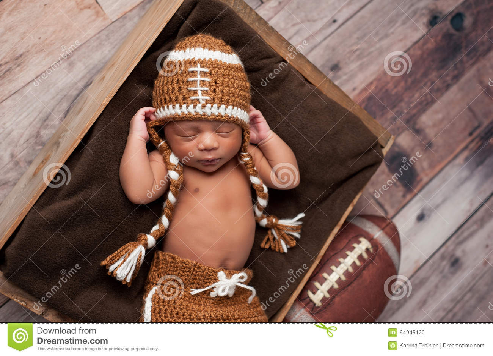 Newborn Baby Boy In Football Costume Stock Photo Image