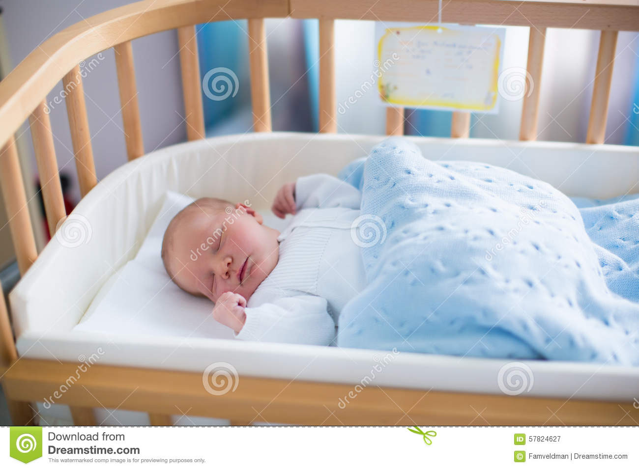 Newborn Baby Boy In Hospital Cot Stock Photo Image 57824627