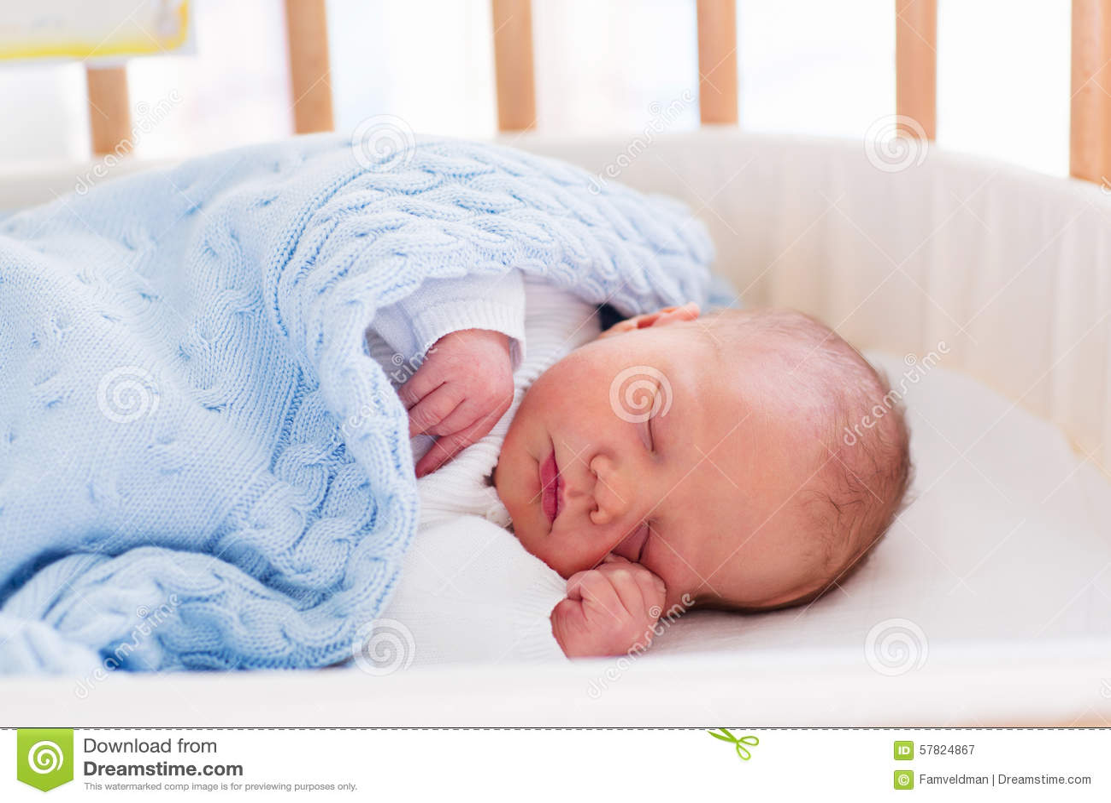 Newborn Baby Boy In Hospital Cot Stock Photo Image 57824867