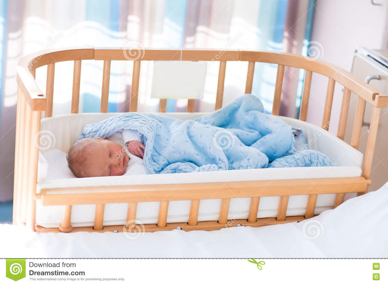 newborn baby boy in hospital cot stock image image of maternity knitted 71090361. Black Bedroom Furniture Sets. Home Design Ideas