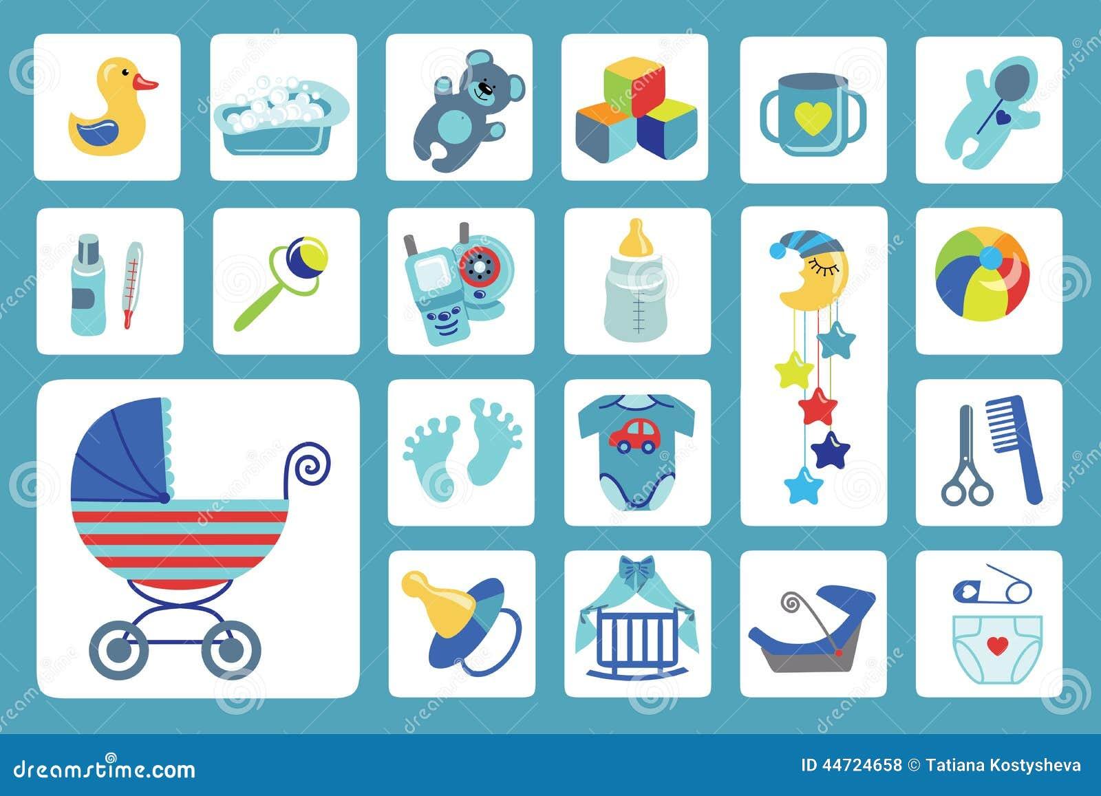 Newborn Baby Boy Icons Set Baby Shower Stock Vector
