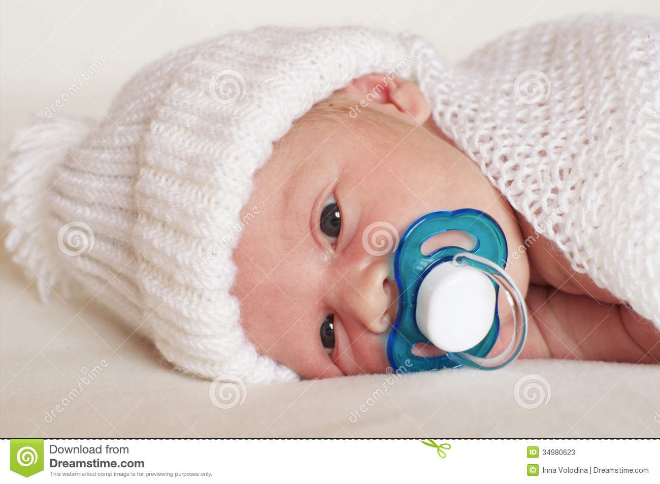 newborn baby boy with pacifier stock image image 34980623