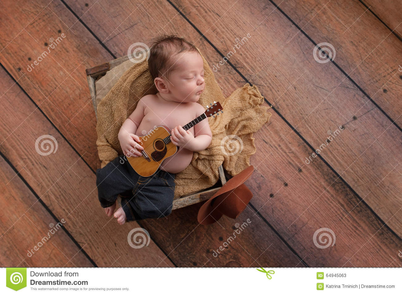 Newborn Baby Boy Playing A Tiny Guitar Stock Image - Image