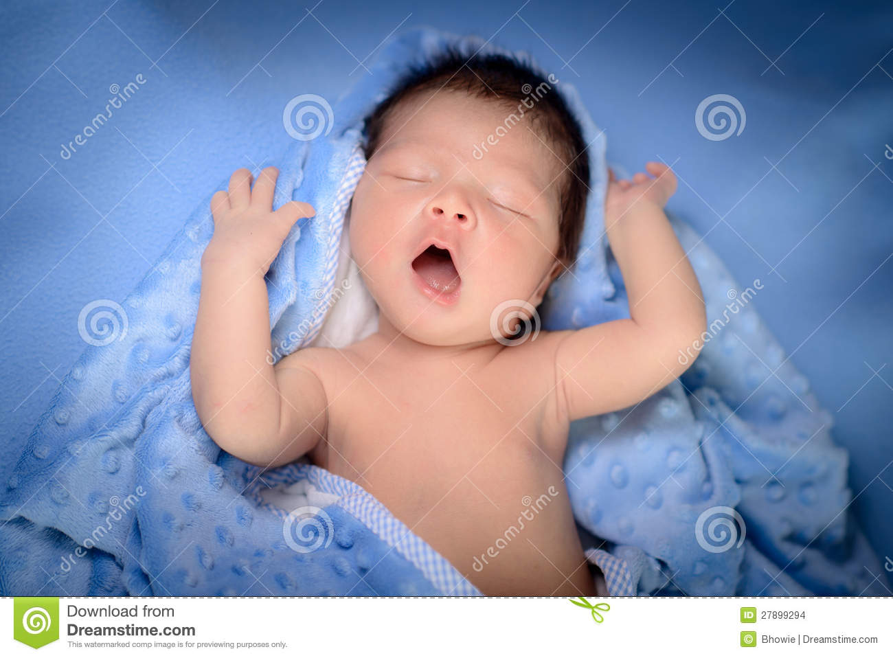 Newborn Baby Boy Plays On Blue Blanket Stock Photo Image Of Race