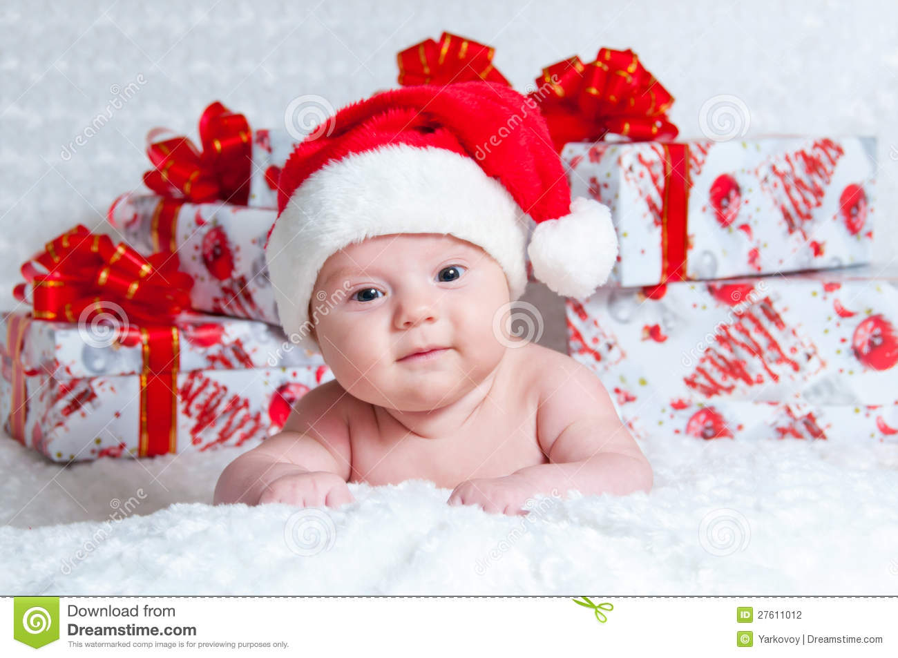 Baby Boy Gifts Christmas : Newborn baby boy santa claus with christmas gifts stock