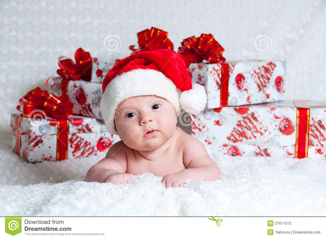 Newborn Baby Boy Santa Claus With Christmas Gifts Stock Image ...