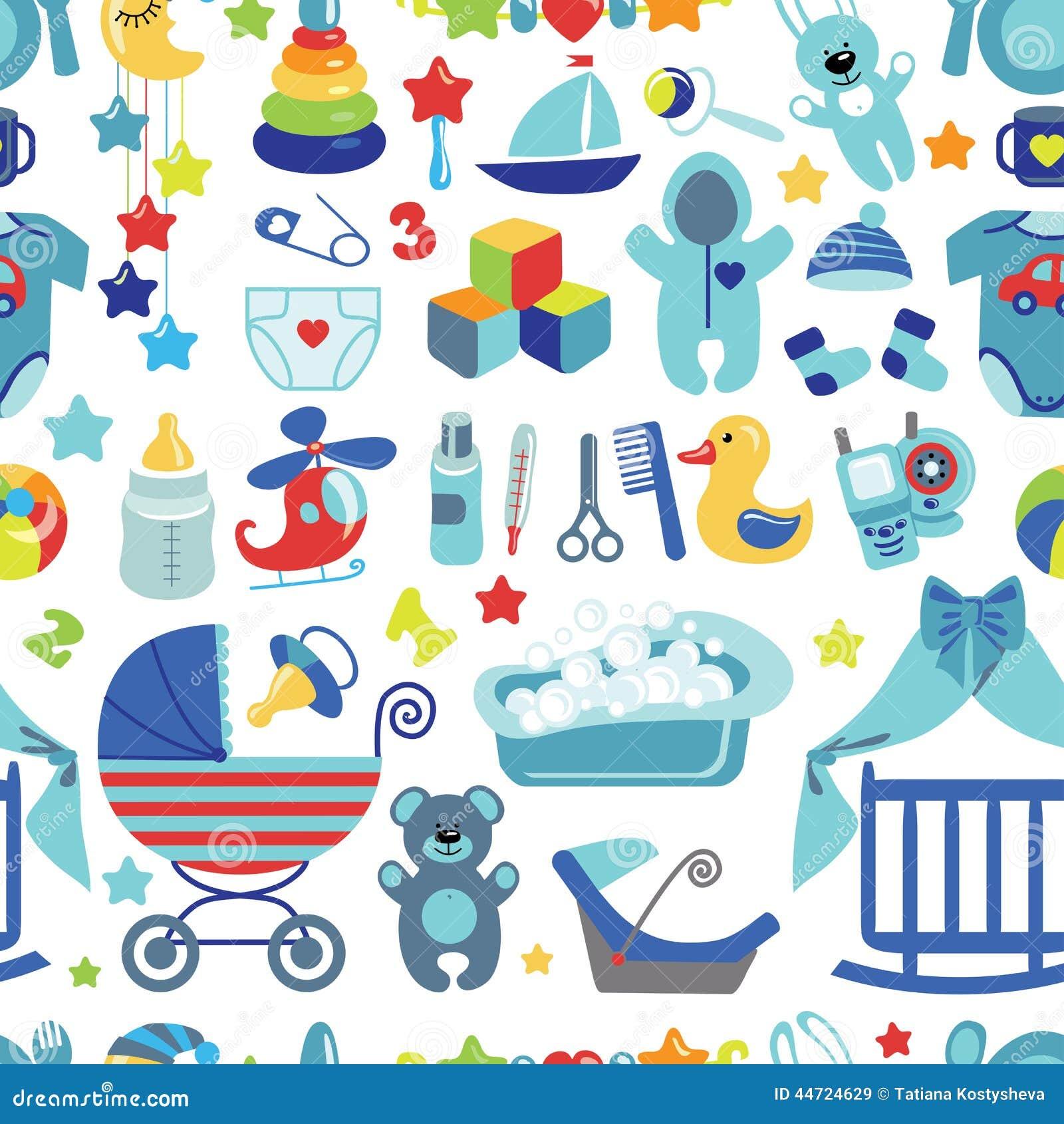 33cfe17d2 Newborn Baby Boy Seamless Pattern Stock Vector - Illustration of ...