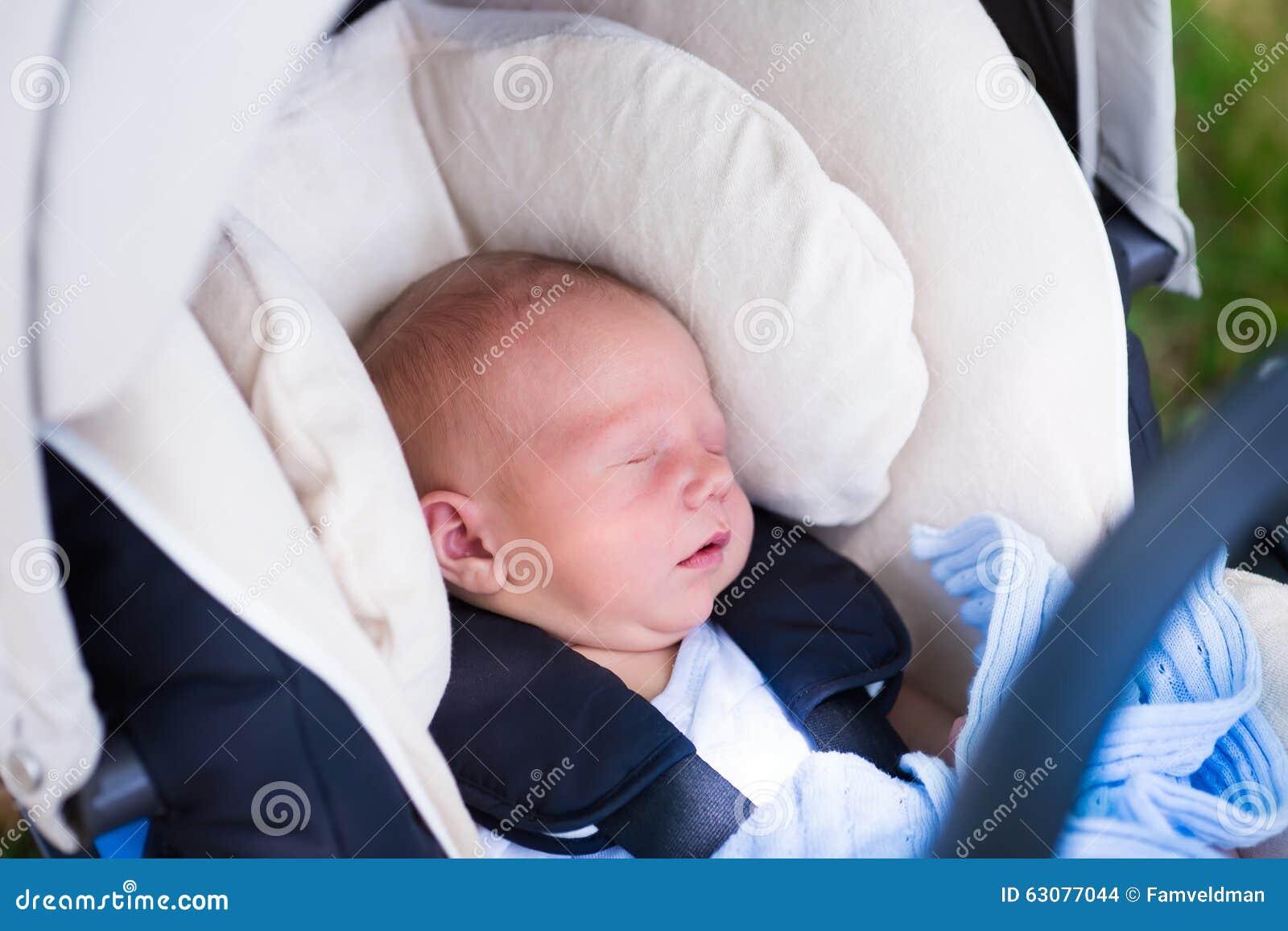 Newborn Baby Boy Sleeping Car Seat