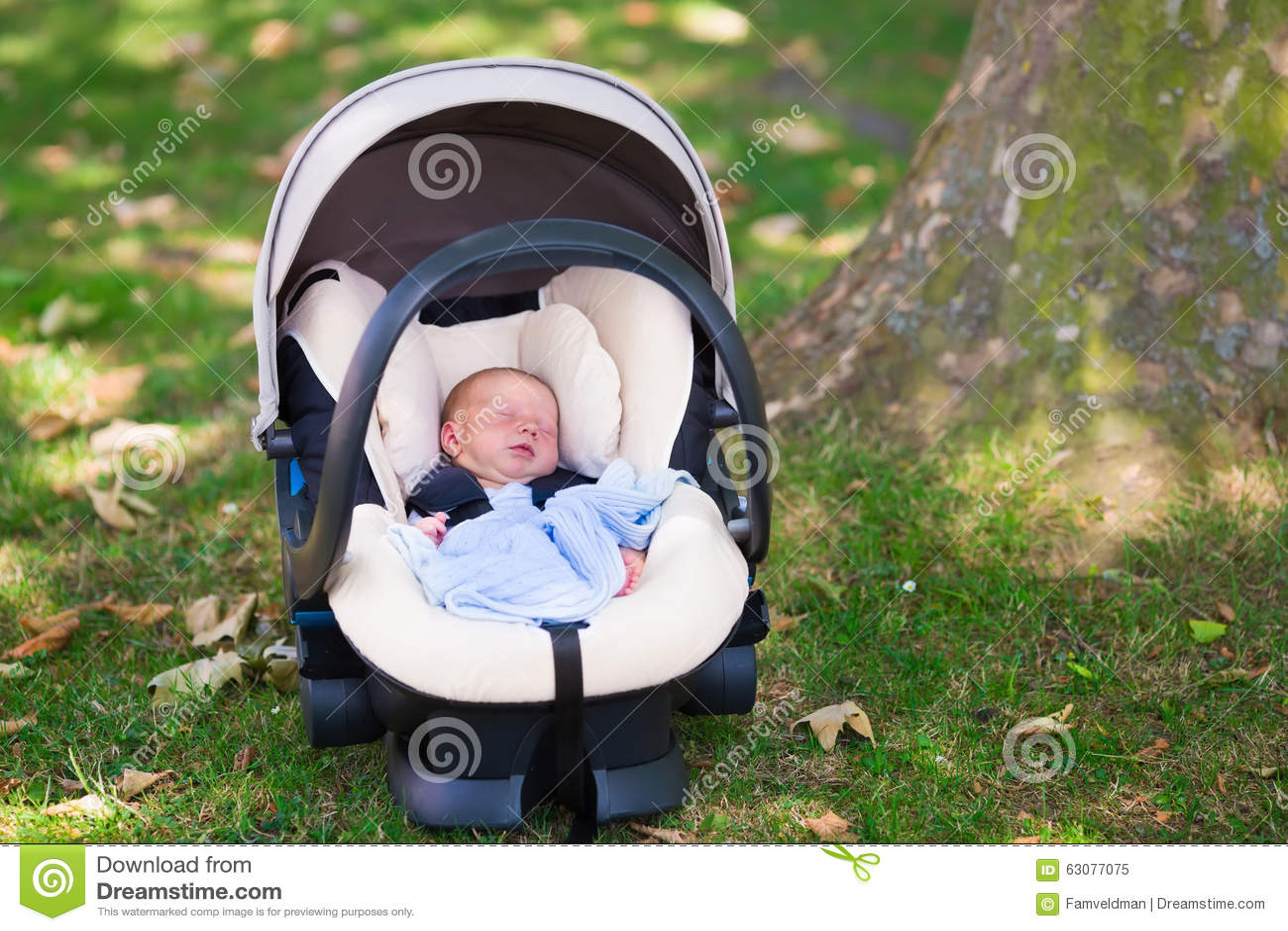 Newborn Baby Boy Sleeping In Car Seat Stock Image Image