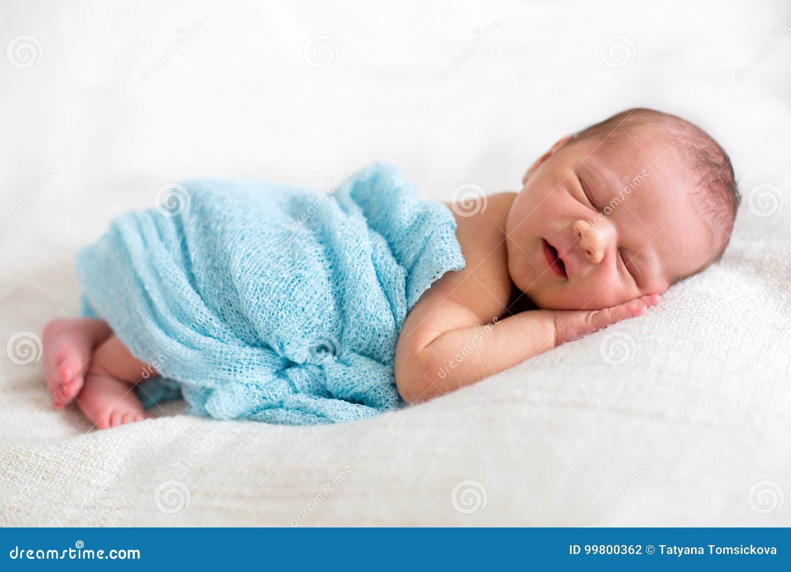 Newborn Baby Boy Sleeping Happily Stock Photo Image Of Childhood