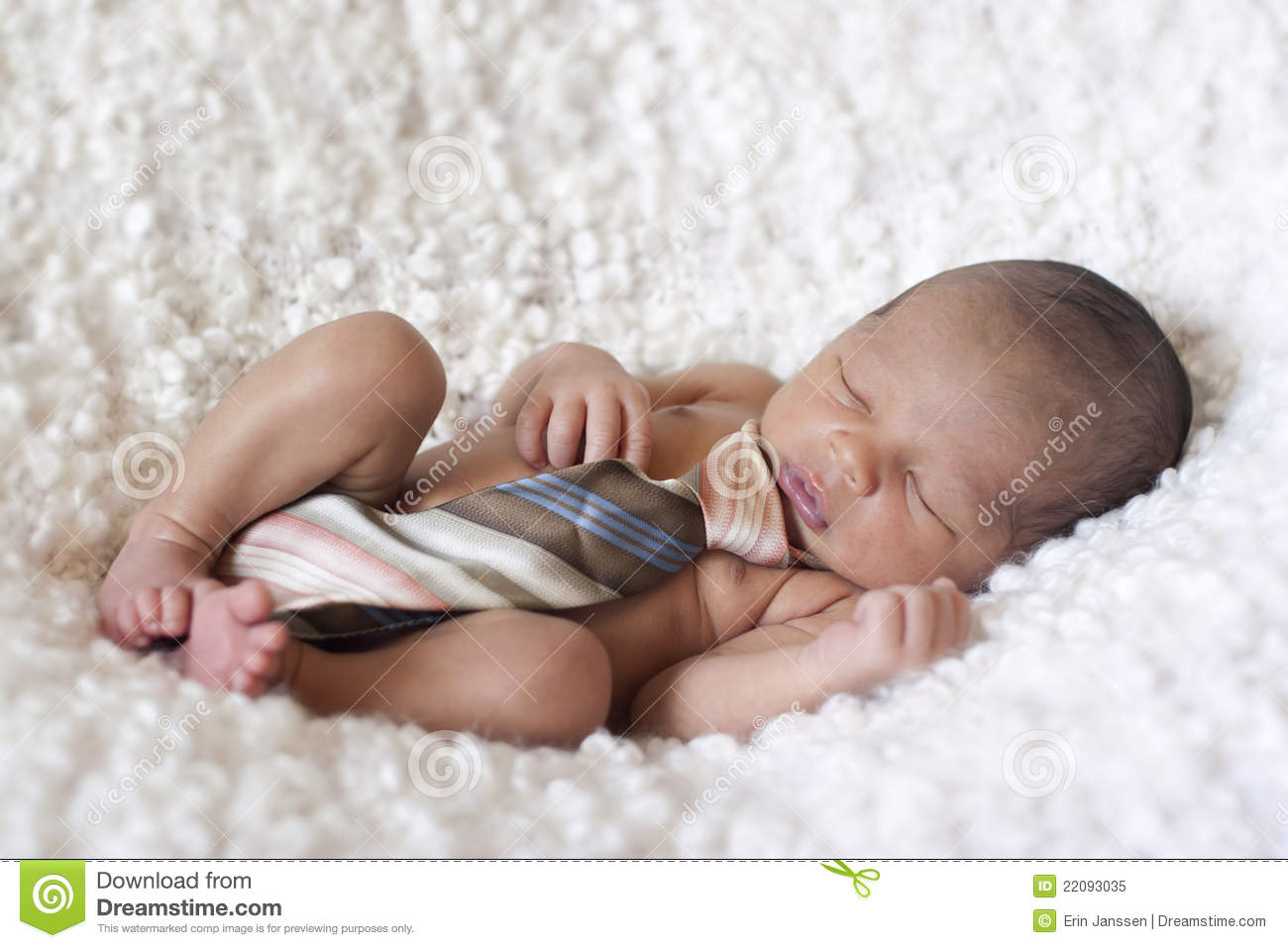 Newborn Baby Boy Sleeping With A Tie Stock Image