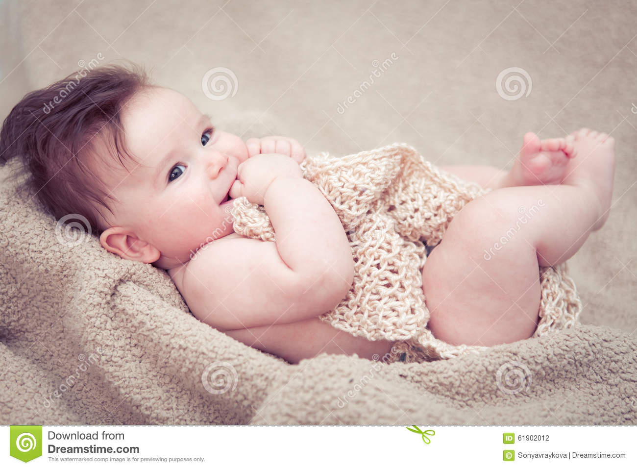 Newborn Baby Boy Smiling Stock Photo Image Of Hair Baby 61902012