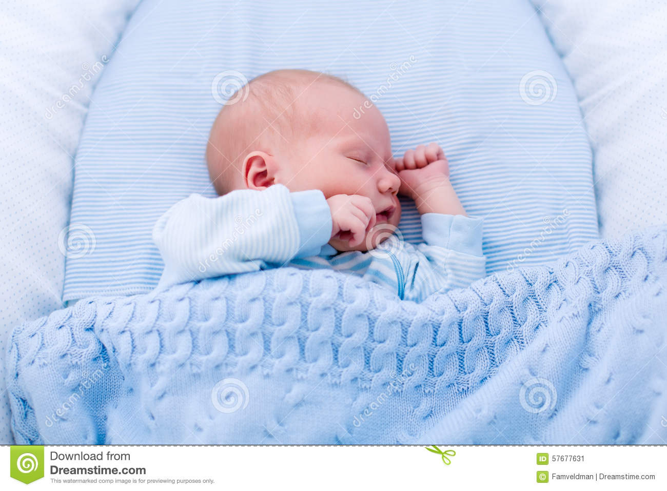 Newborn Baby Boy In White Bassinet Stock Photo Image