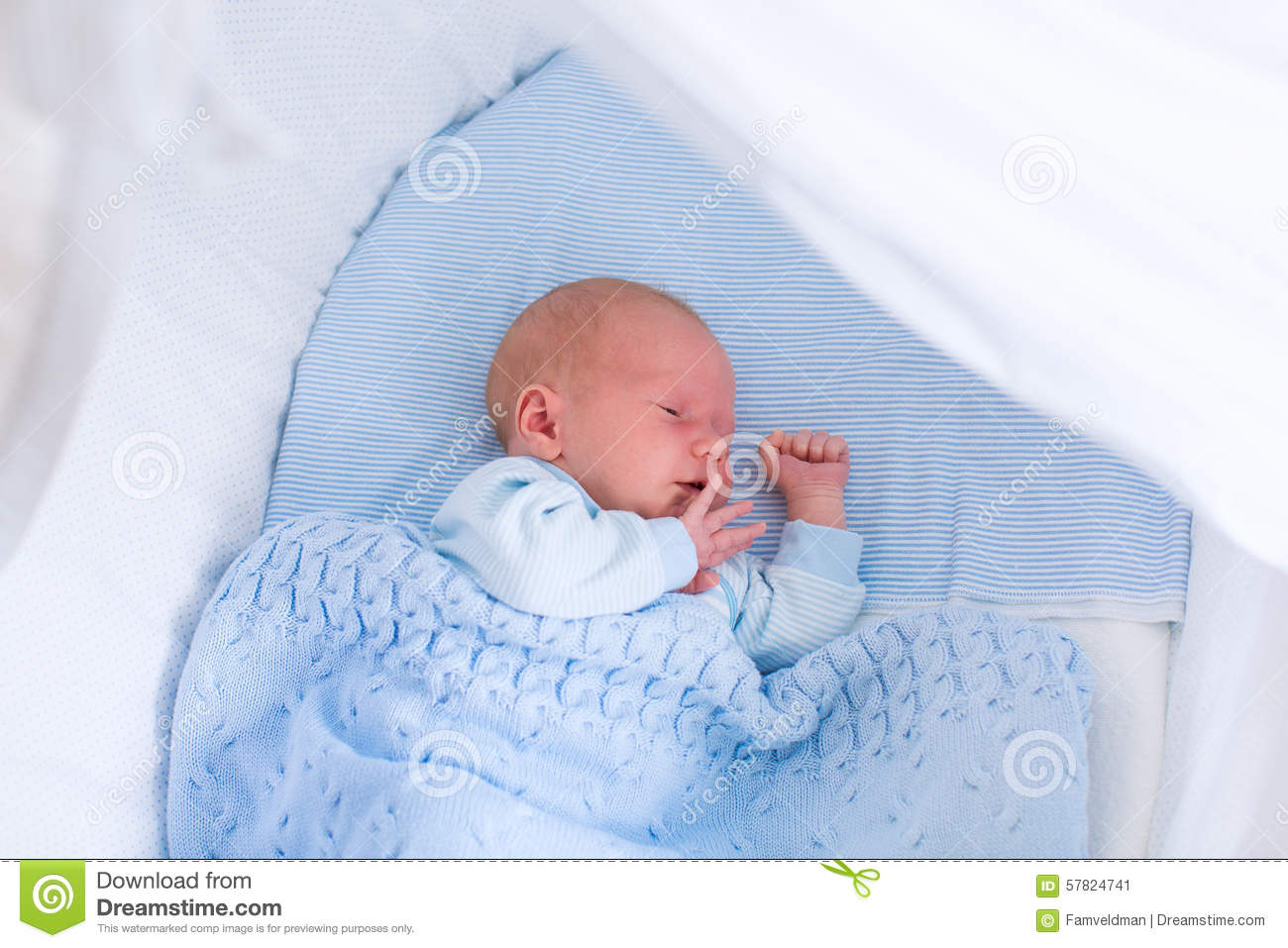 0b686ffbc054 Newborn Baby Boy In White Bassinet Stock Image - Image of hospital ...