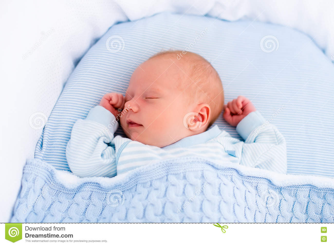 d3436aefb5b5 Newborn Baby Boy In White Bassinet Stock Image - Image of baby ...