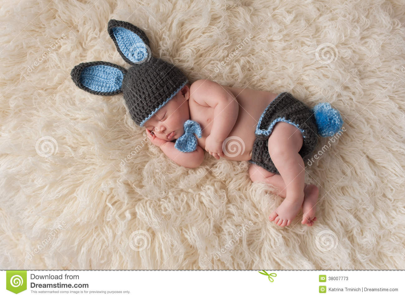 Newborn Baby In Bunny Rabbit Costume Stock Image Image