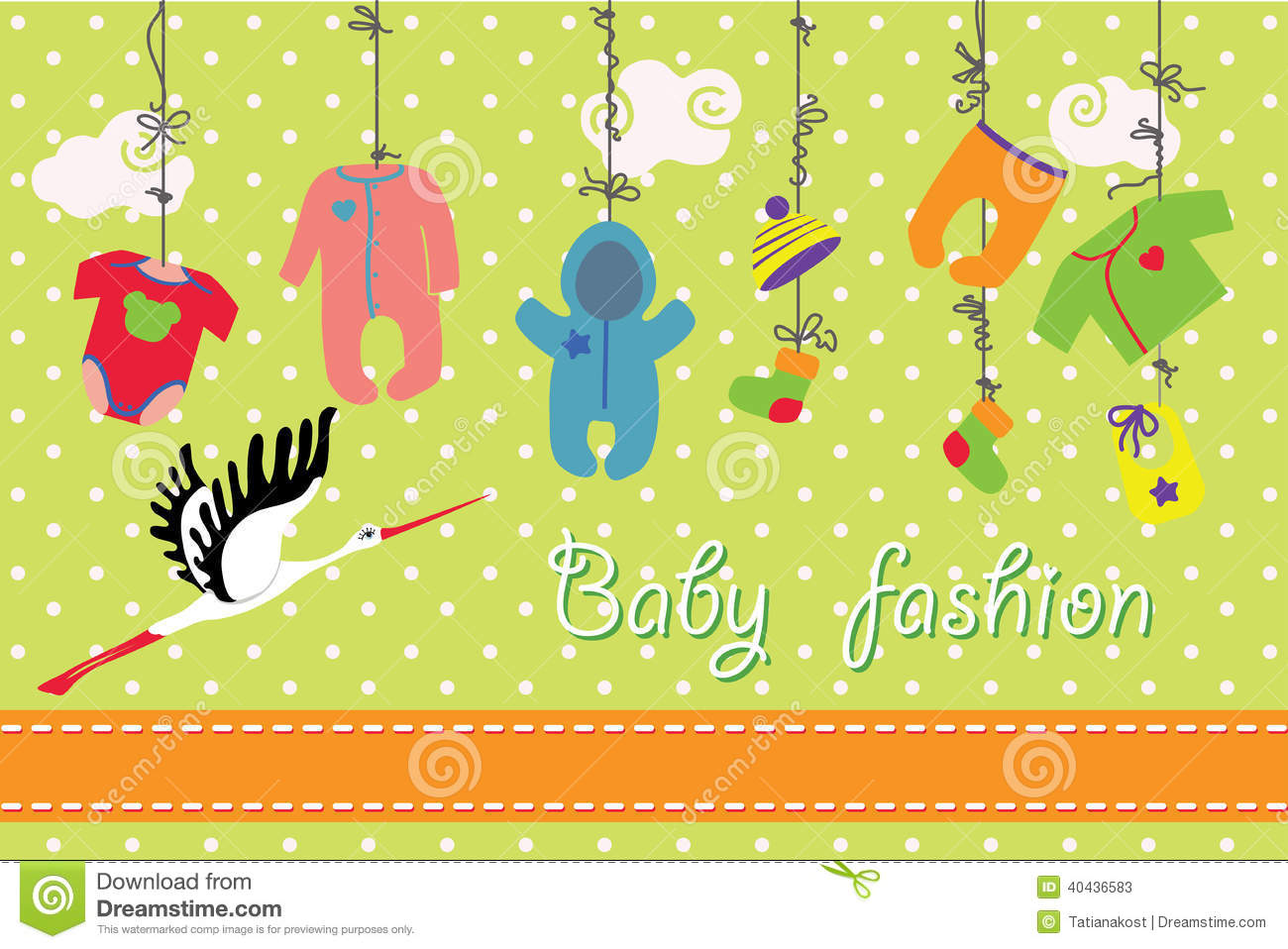 Newborn Baby Clothes Hanging On The Rope.Baby Fashion Set ...