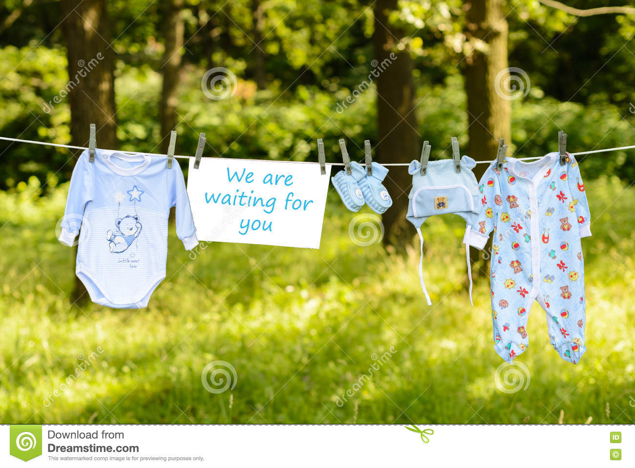 Newborn Baby Clothes On A Washing Line Stock Photo Image Of Summer