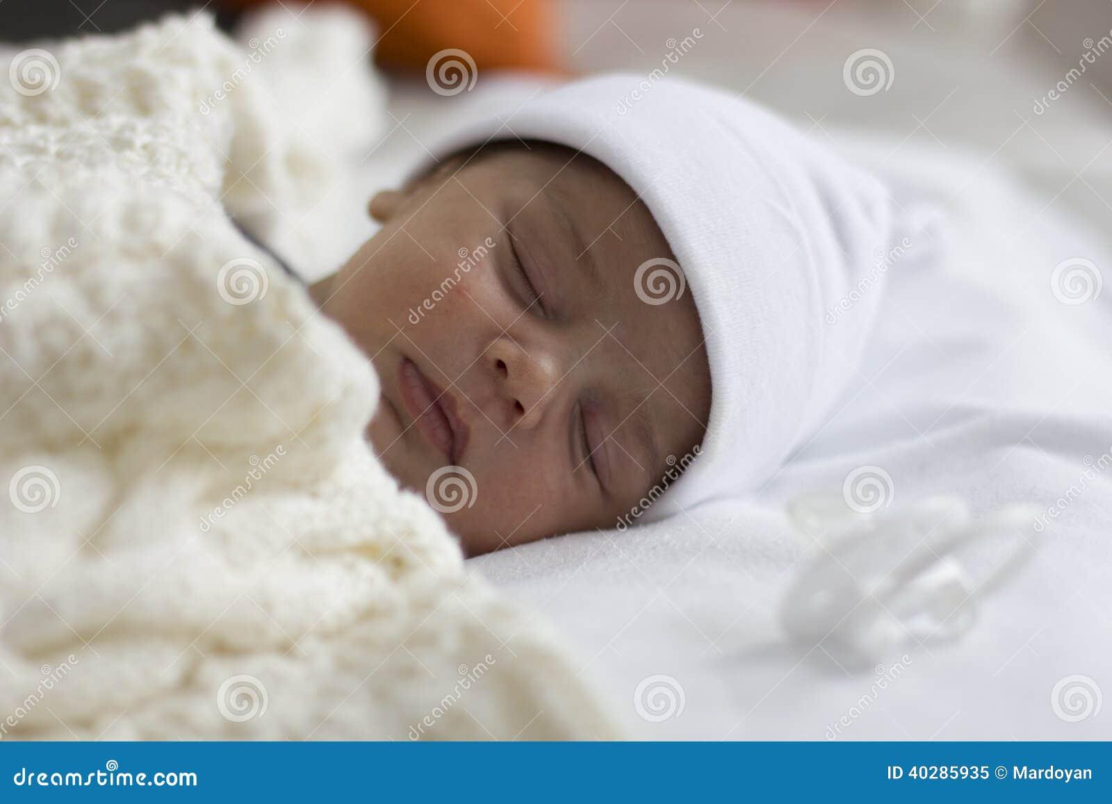 Cute newborn baby boy sleeping