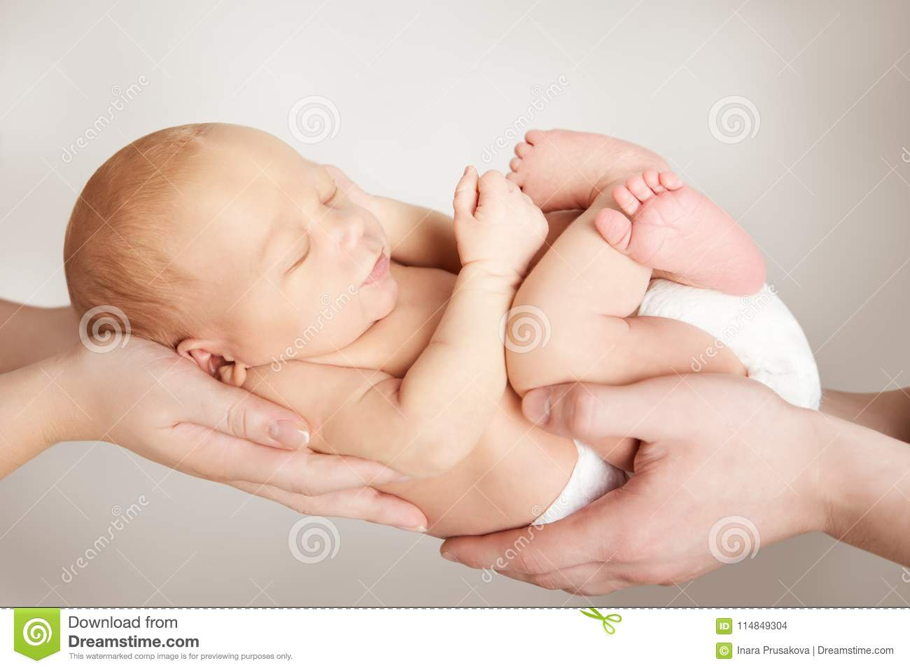 Newborn Baby and Family Concept, Parents Holding New Born Child