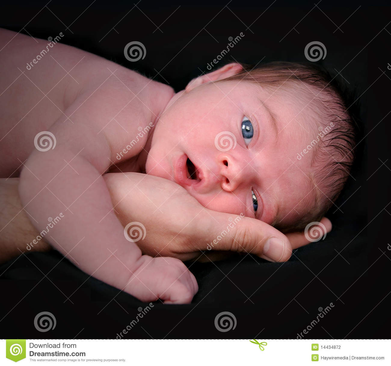 Newborn Baby in Father s Hand on Black