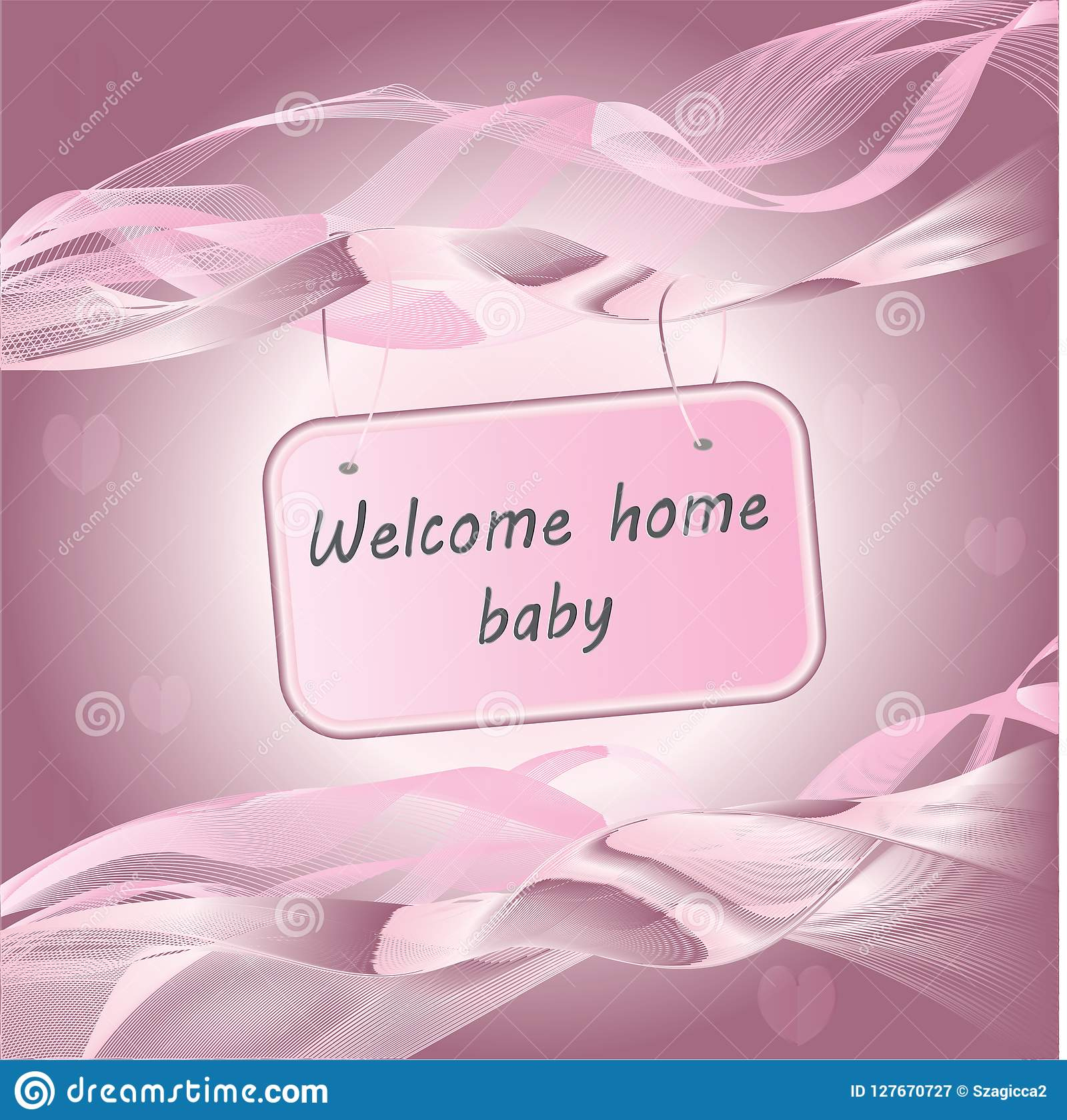 newborn baby girl arrival announcement pink card stock