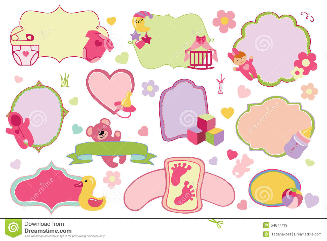 Newborn Baby Girl Badges,labels Set.Baby Shower Stock Vector ...