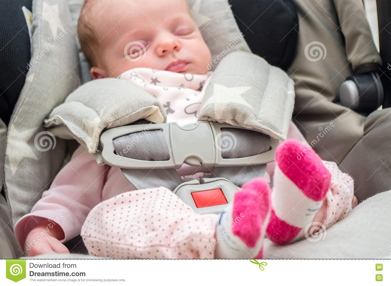Baby Girl Infant Car Seats: Newborn Baby Girl In A Car Seat Stock Photo