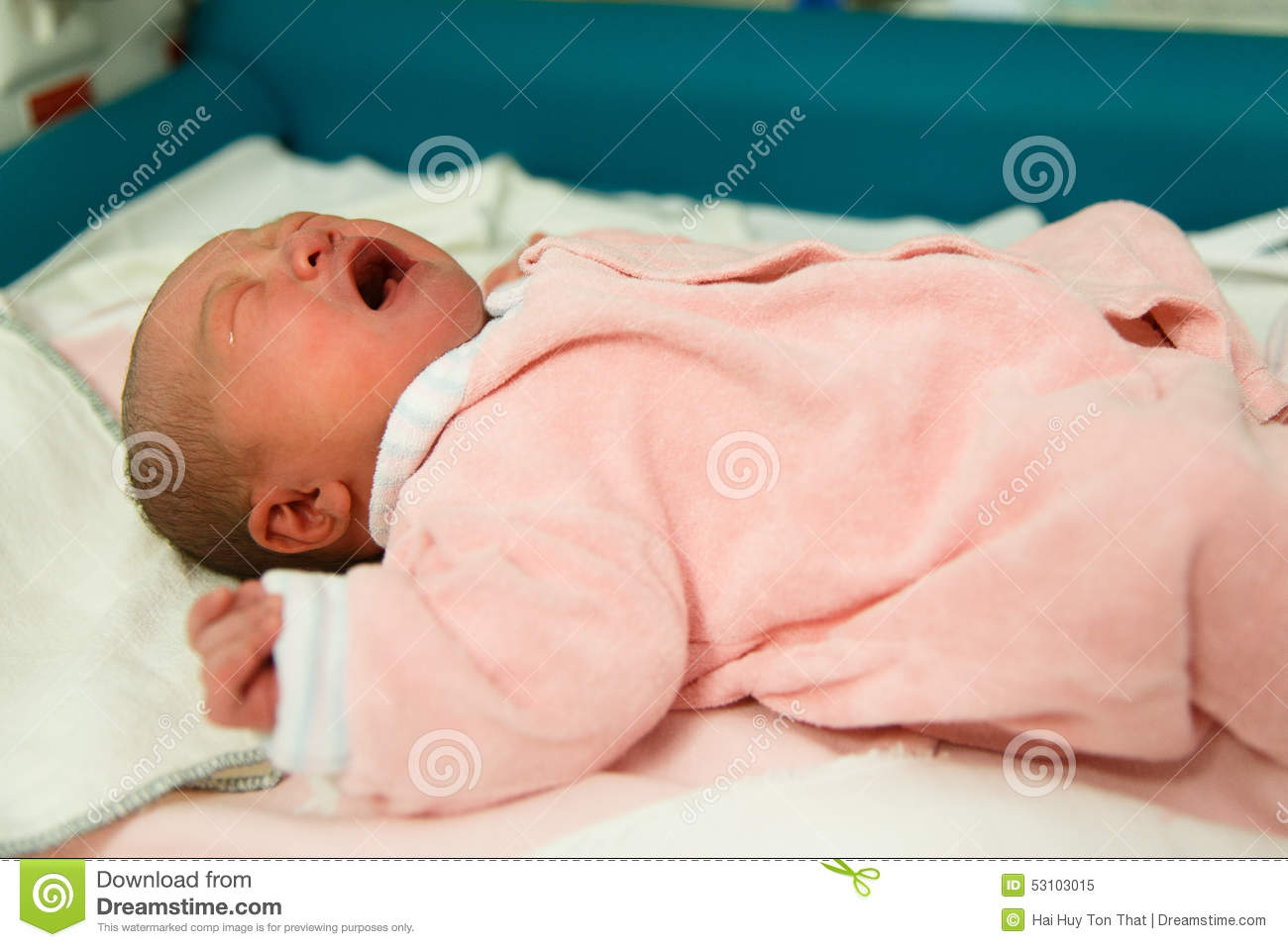 Newborn Baby Girl Crying In Crib