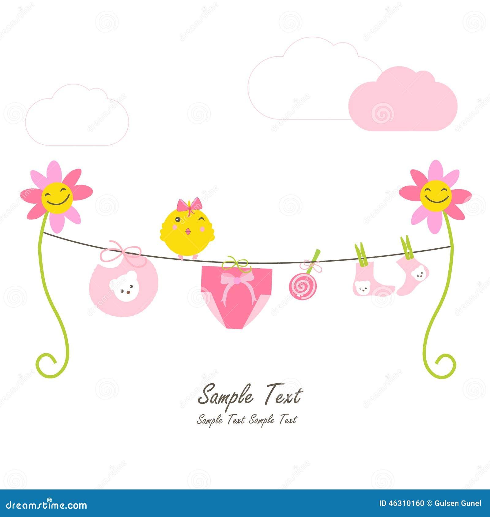 newborn baby girl flowers and hanging baby symbols stock