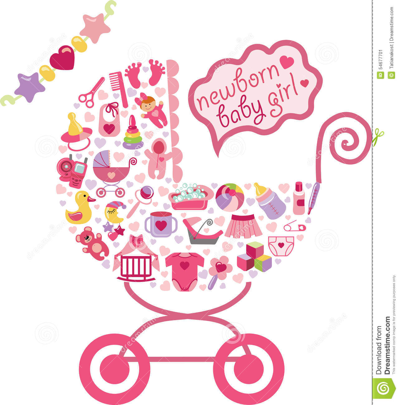 newborn icons set for baby girl ñomposition in form of carriage baby ...