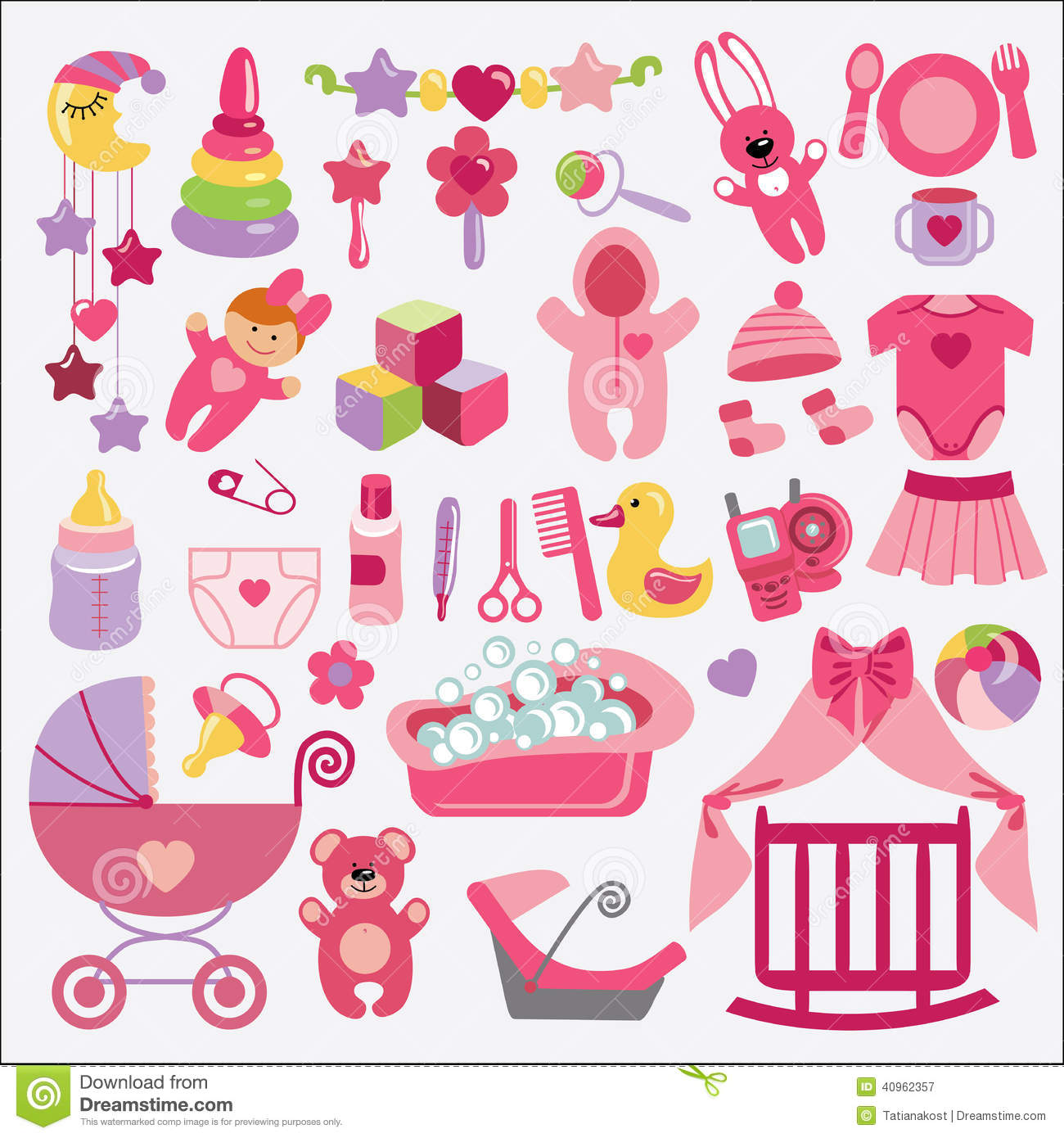 items for Newborn Baby-girl.Baby cartoon icons for little girl .Baby ...