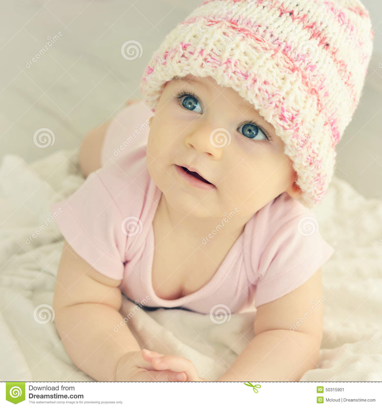 Newborn Baby Girl In Pink Knitted Hat. Stock Image - Image ...