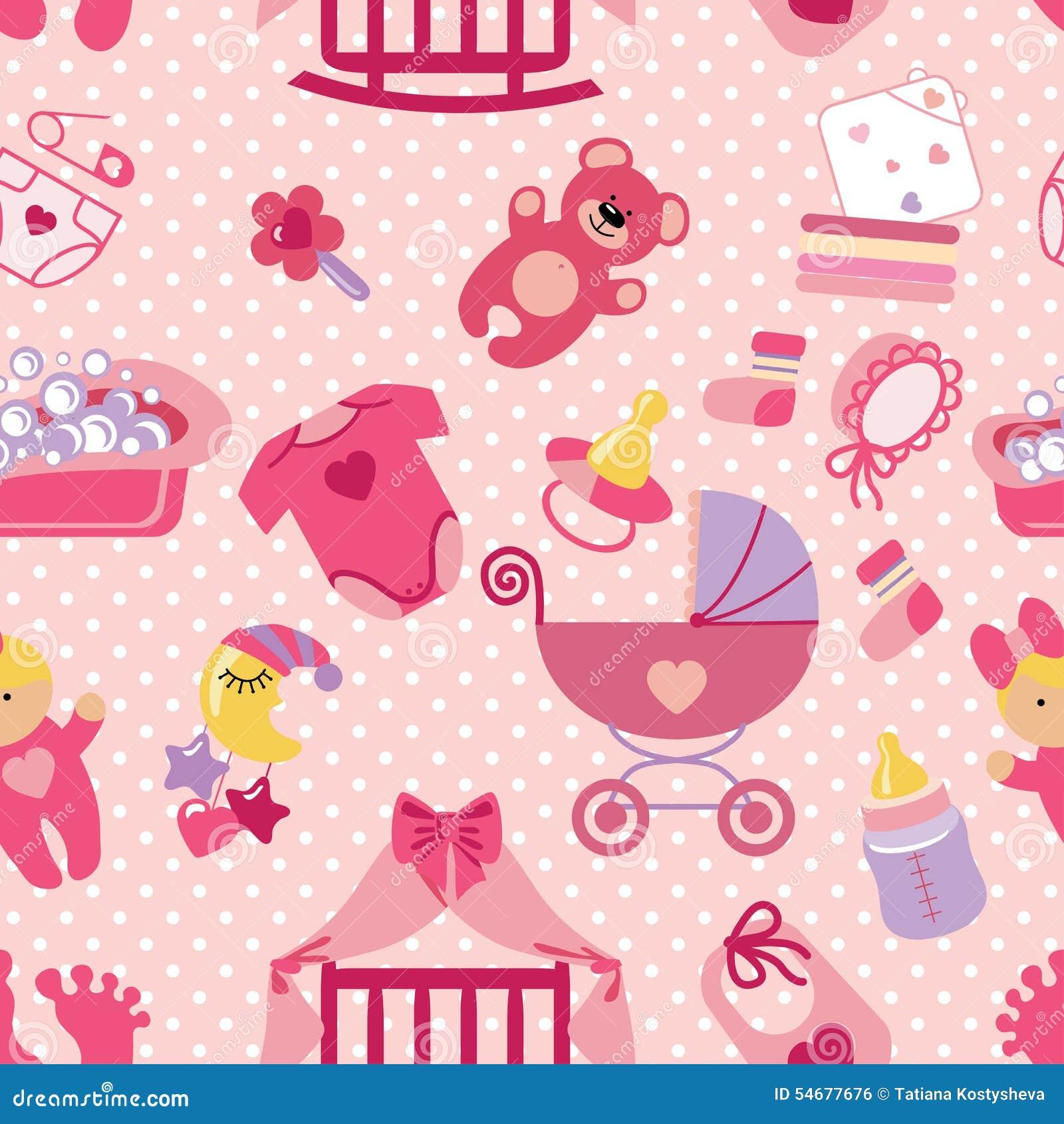 Stock Illustration Newborn Baby Girl Seamless Pattern Polka Dot Cute Shower Cartoon Design Elements Fabric Background Wallpaper Backdrop Image54677676 on Boy Paper Doll