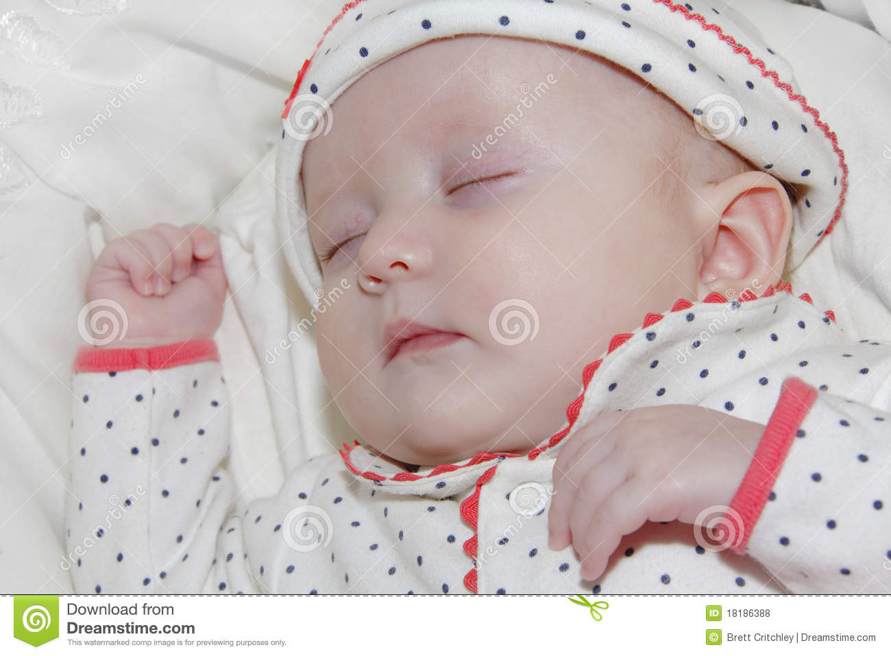 newborn baby girl sleeping stock photo. image of portrait - 18186388