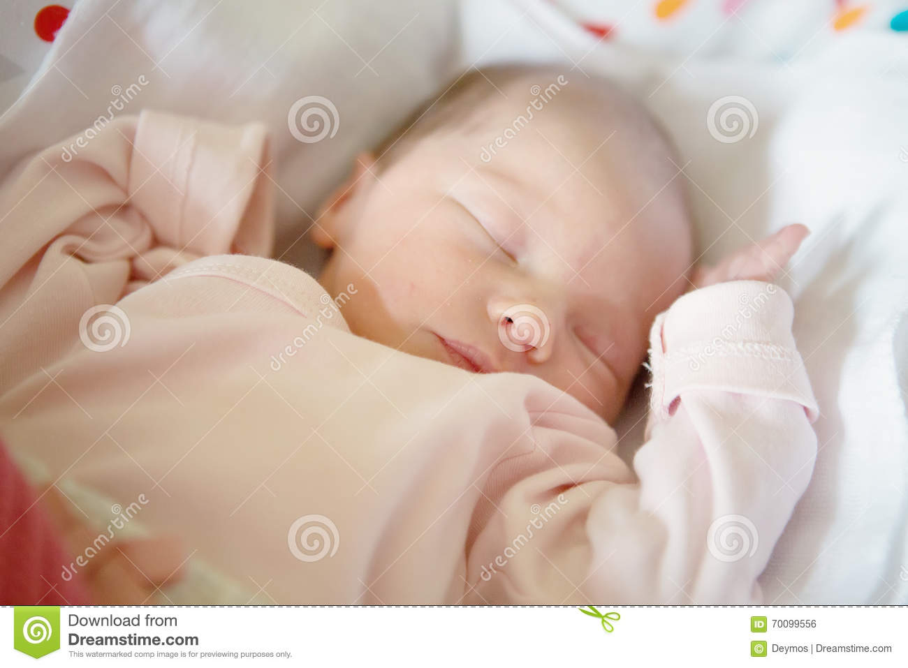 Newborn Baby Girl Sleeping In Her Crib Stock Photo - Image ...