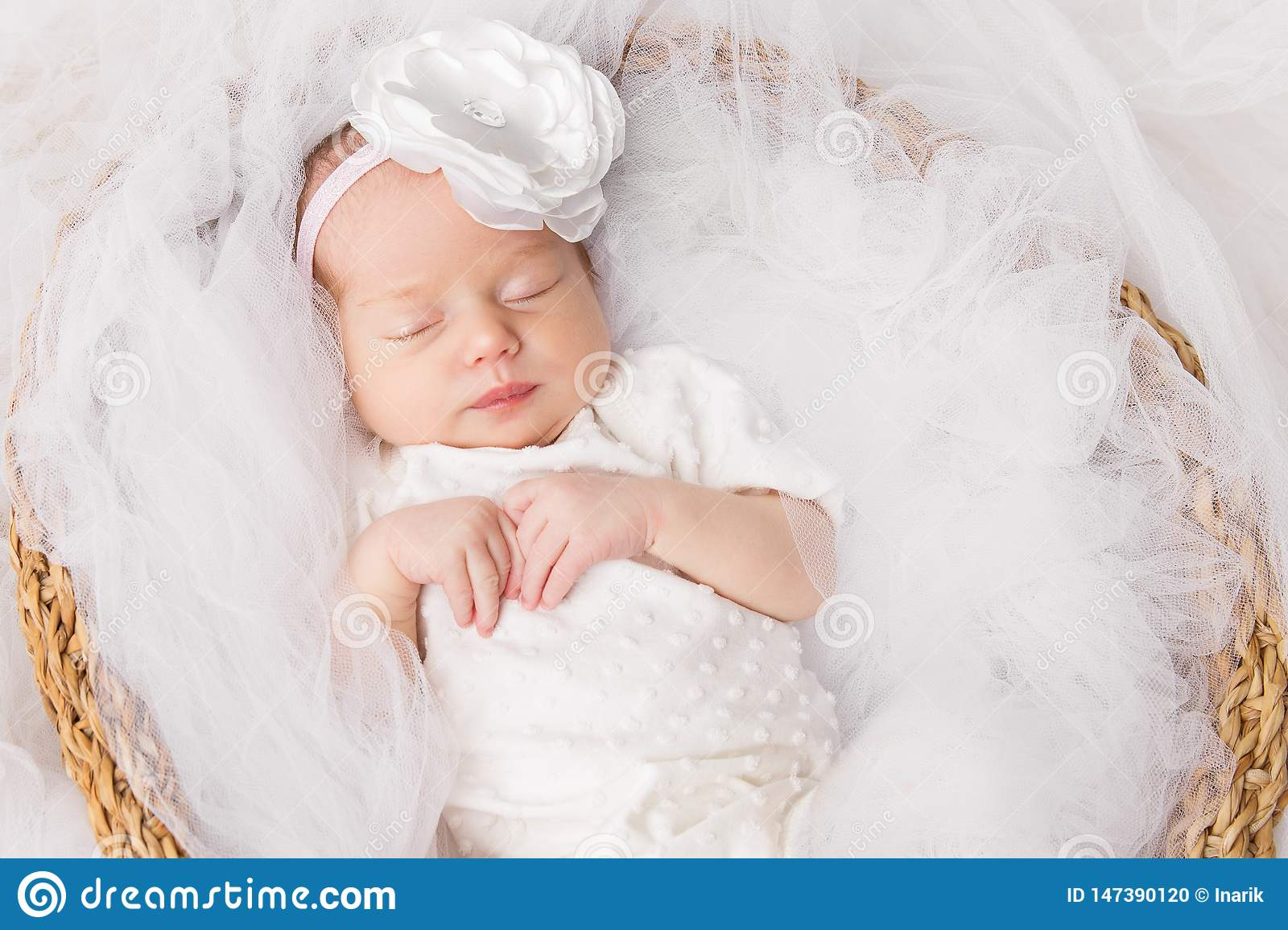 Newborn Baby Girl Sleeping New Born Kid In White Beautiful Infant Portrait Stock Photo Image Of Concept Cute 147390120