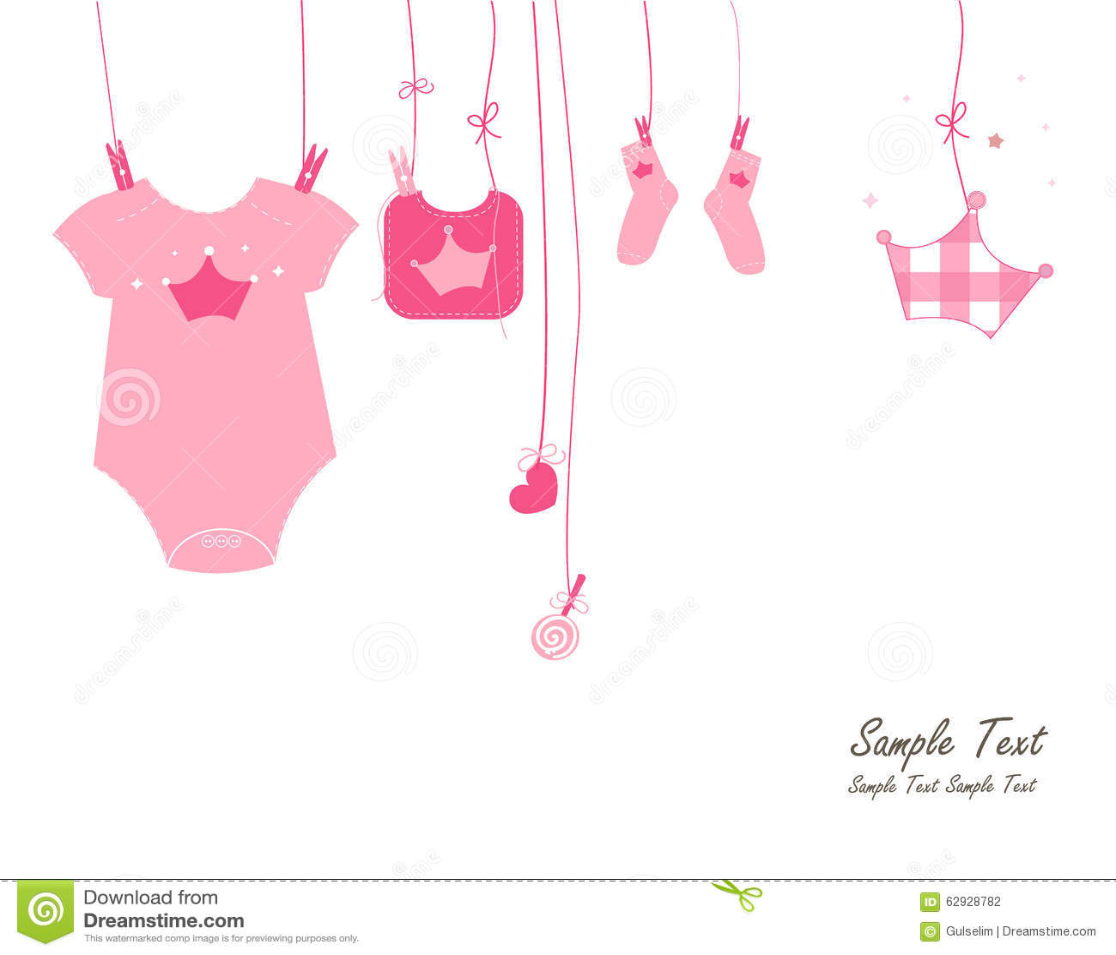 Newborn Baby Girl Symbols Arrival Card Vector Stock Vector ...