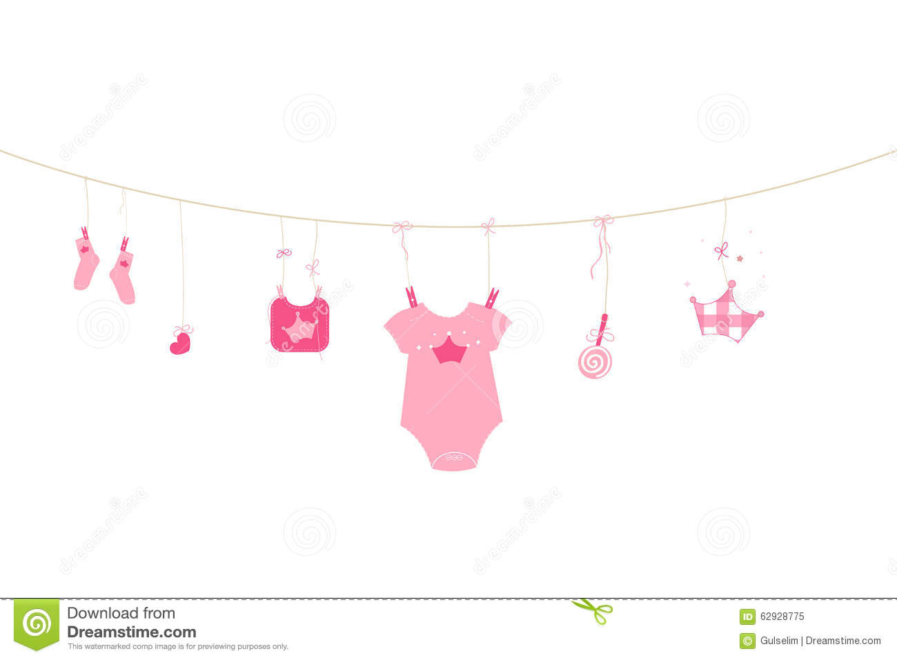 newborn baby girl symbols baby arrival greeting card
