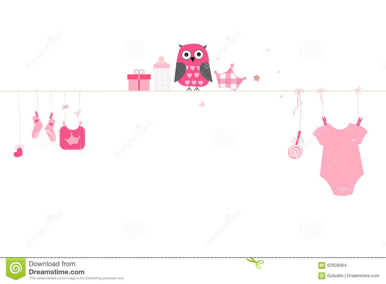 Newborn Baby Girl Symbols With Owl Baby Arrival Greeting Card