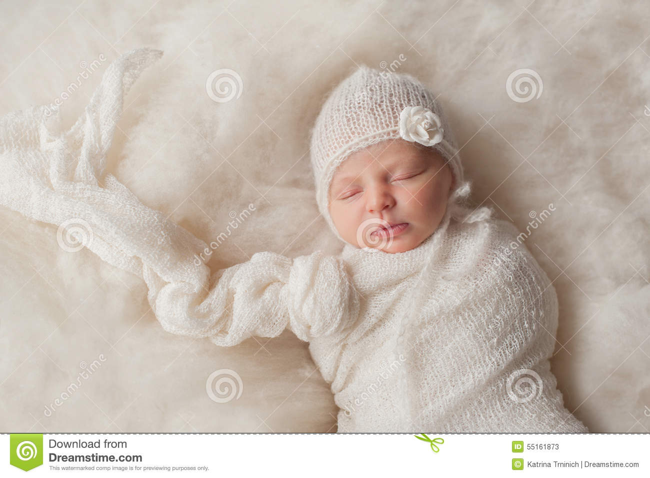 Newborn Baby Girl Wearing A White Knitted Bonnet Stock Image - Image ... 35e72a3a26f